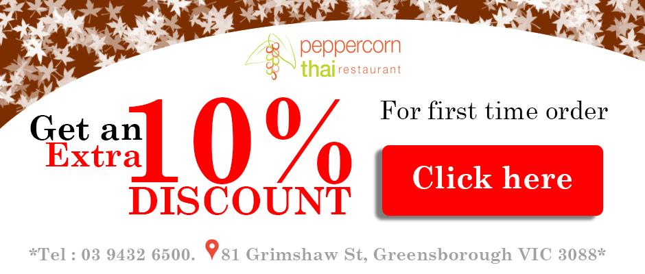 peppercorn thai 10% discount